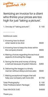 photographer prices an itemized invoice for clients who balk at your photography prices