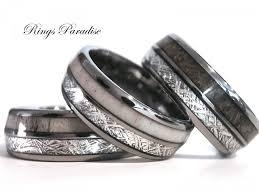 Tungsten Carbide Mens Wedding Rings by Antler Elk Wedding Band Meteorite Inlay Tungsten Ring Engagement