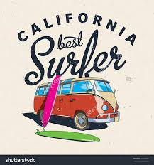 volkswagen van with surfboard clipart the best surfing in california label design for posters t shirts