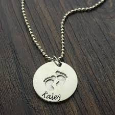 Baby Name Jewelry Silver Baby Name Necklace With Footprints Hand Stamped Baby First