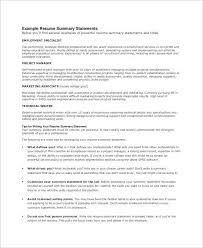 resume summary statements about experiences marketing resume summary statement exles exles of resumes