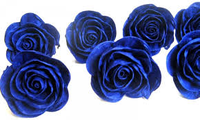 giant royal blue navy blue crepe paper roses centerpiece bridal