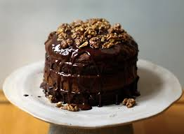 chocolate banana birthday cake maple glazed walnuts