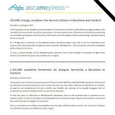 chambre de commerce barcelone ascame on ascame strongly condemns the terrorist attacks