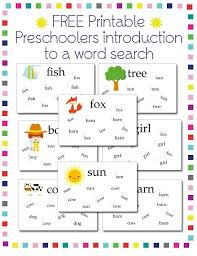preschool activities word search printable