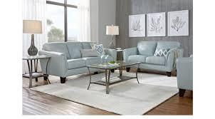 3 Pc Living Room Set 2 099 99 Livorno Aqua Light Blue Leather 3 Pc Living Room
