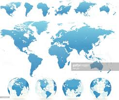 World Continents And Countries Map by World Map Blue Countries Continents Globes Vector Art Getty Images