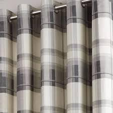 Slate Grey Curtains Balmoral Check Lined Eyelet Curtains Grey Readymade Ring Top