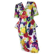 cotton skirt ungaro 80s floral cotton skirt suit size 8 for sale at 1stdibs