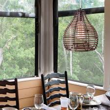 stylish dining pendant light woven rattan shade brown color