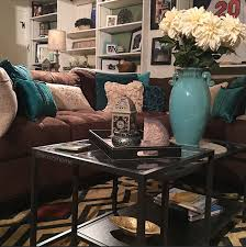 cozy brown couch with teal accents turquoise and brown built in