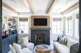 Fireplace With Music by Tan Oak Plank Wall With Tv Over Black Stone Fireplace Cottage