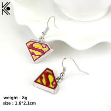 superman earrings superman s logo drop earrings for women gold color enamel