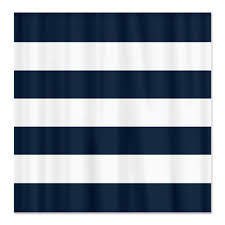 large striped custom shower curtain navy blue and white stripes or