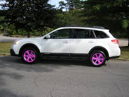 subaru pink 2013 white ob with different colored wheels subaru outback