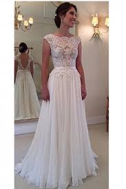 open back wedding dresses a line lace scalloped chiffon open back wedding dress