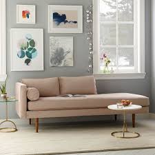 West Elm Lorimer Sofa Monroe Mid Century Left Arm Chaise Lounger Pindot Faux Suede