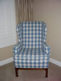 Blue Wingback Chair Design Ideas Furniture Blue White Linen Wing Chair Slipcover Appealing