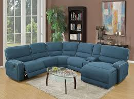 recliner sectional blue fabric