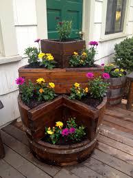 multi tier wine barrel planter garden planters pinterest