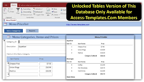 restaurant menu price list in access templates database for
