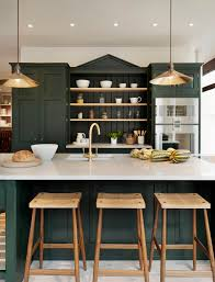 Black Cabinets Kitchen Focal Point Created With The Peek In Cabinetry Hunter Green