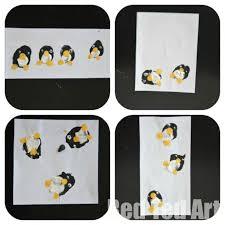 kids crafts penguin finger print cards thank you cards red