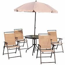 6 Piece Garden Furniture Patio Set - outsunny 6pc patio umbrella set garden bistro table foldable