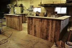 Reclaimed Wood Reception Desk Custom Reclaimed Wood Reception Desk In Kitchener Office Blog