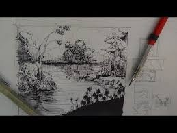 pen u0026 ink drawing tutorials how to draw a river landscape scene
