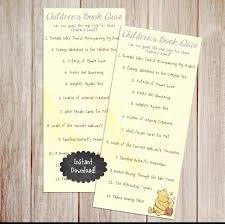 Winnie The Pooh Writing Paper Children S Book Title Quiz Game Insant Download
