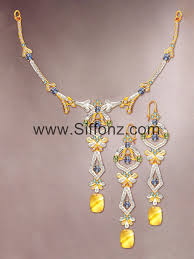 yellow necklace set images Pakistani casual jewellery set with yellow semi precious stones jpg