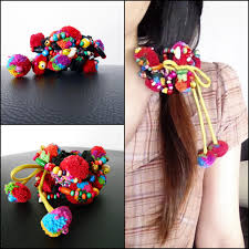 ponytail holder ponytail holder colorful hair accessories with pretty pom poms