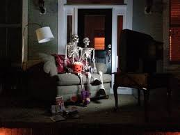Halloween Posable Skeleton Halloween Front Porch Decorations Movie Night Baxter Skeletons