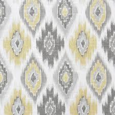 Roman Upholstery Grey Yellow Ikat Upholstery Fabric Yellow Ikat Cotton
