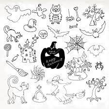 Halloween Icon Sketch Doodle Halloween Icon Set Hand Draw Vector Illustration