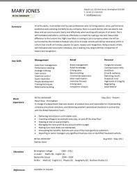 luxury retail sales resume retail manager cv template resume examples job description