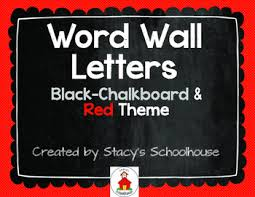 word wall letters chalkboard with red and beige letters butcher