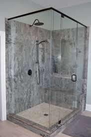 Bathroom With Bronze Fixtures Master Bathroom With Grey Shaker Vanity Porcelain Tile Pebble