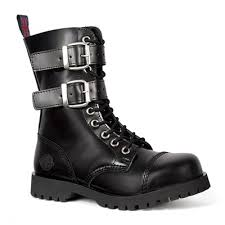 s boots buckle black leather 2 buckle 10 eye combat boots by nevermind