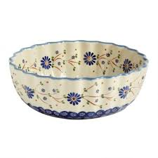 painted peacock large fluted floral serving bowl tree