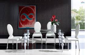 Dining Room White Modern Dining Sets With White Leather - White leather dining room set