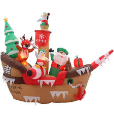 home depot lawn decorations 8 ft lighted inflatable christmas pirate giant ship scene blown