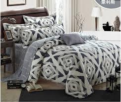 Duvet Set King Size Luxury Geometric Silver Bedding Set King Size Queen Grey Duvet
