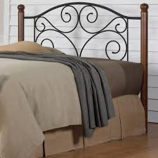 Iron And Wood Headboards Fashion Bed Group Doral Queen Size Headboard With Dark Walnut Wood