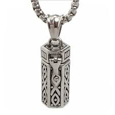 cremation urn jewelry men necklaces stainless steel tubular open cremation urn jewelry