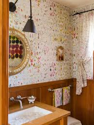 Shabby Chic Style Wallpaper by Wallpaper Ideas For Powder Room Powder Room Shabby Chic Style With
