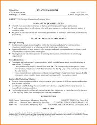 examples of a functional resume 4 statement of qualifications example letter case statement 2017 statement of qualifications example letter functional resume for strategic planning objective with summary qualifications in advertising sales and relevant