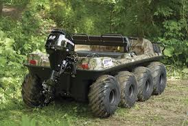 gibbs amphibious truck 8x8 wheeler with mercury 9 9 motor on the back four wheeler
