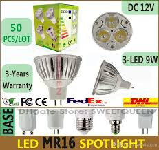 50x dimmable led spotlight mr16 9w lamp bulbs 12v 3 led warm pure